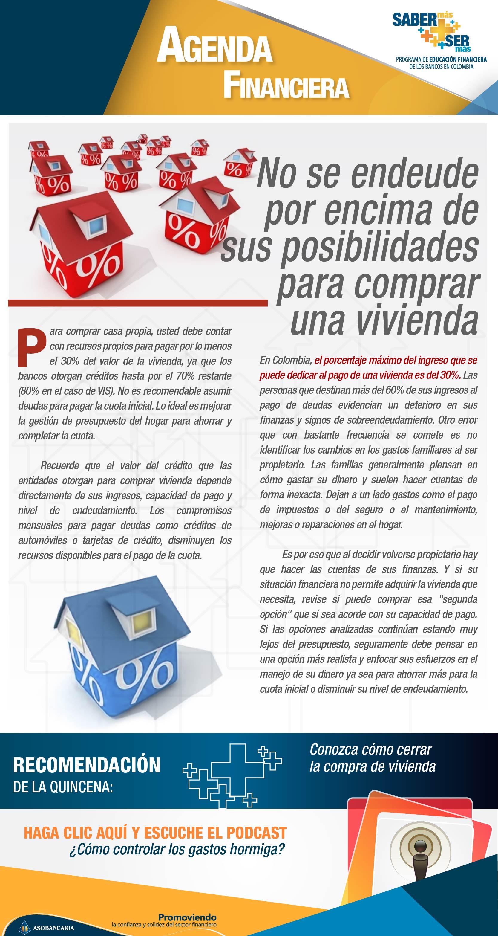 Boletin 10 - No se endeude por encima de sus posibilidades para comprar una vivienda