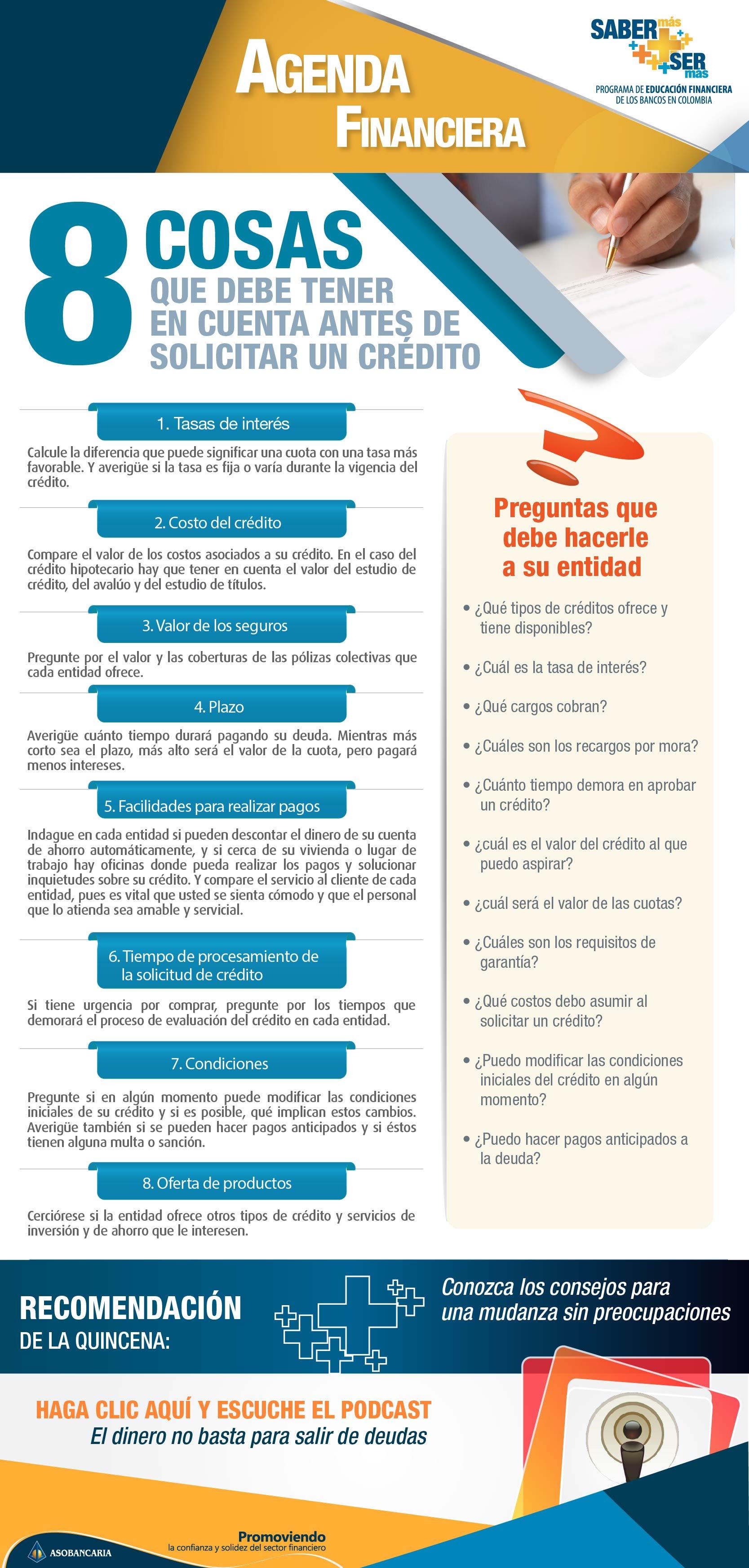 Boletin 12 - Ocho cosas que debe tener en cuenta, antes de solicitar un credito
