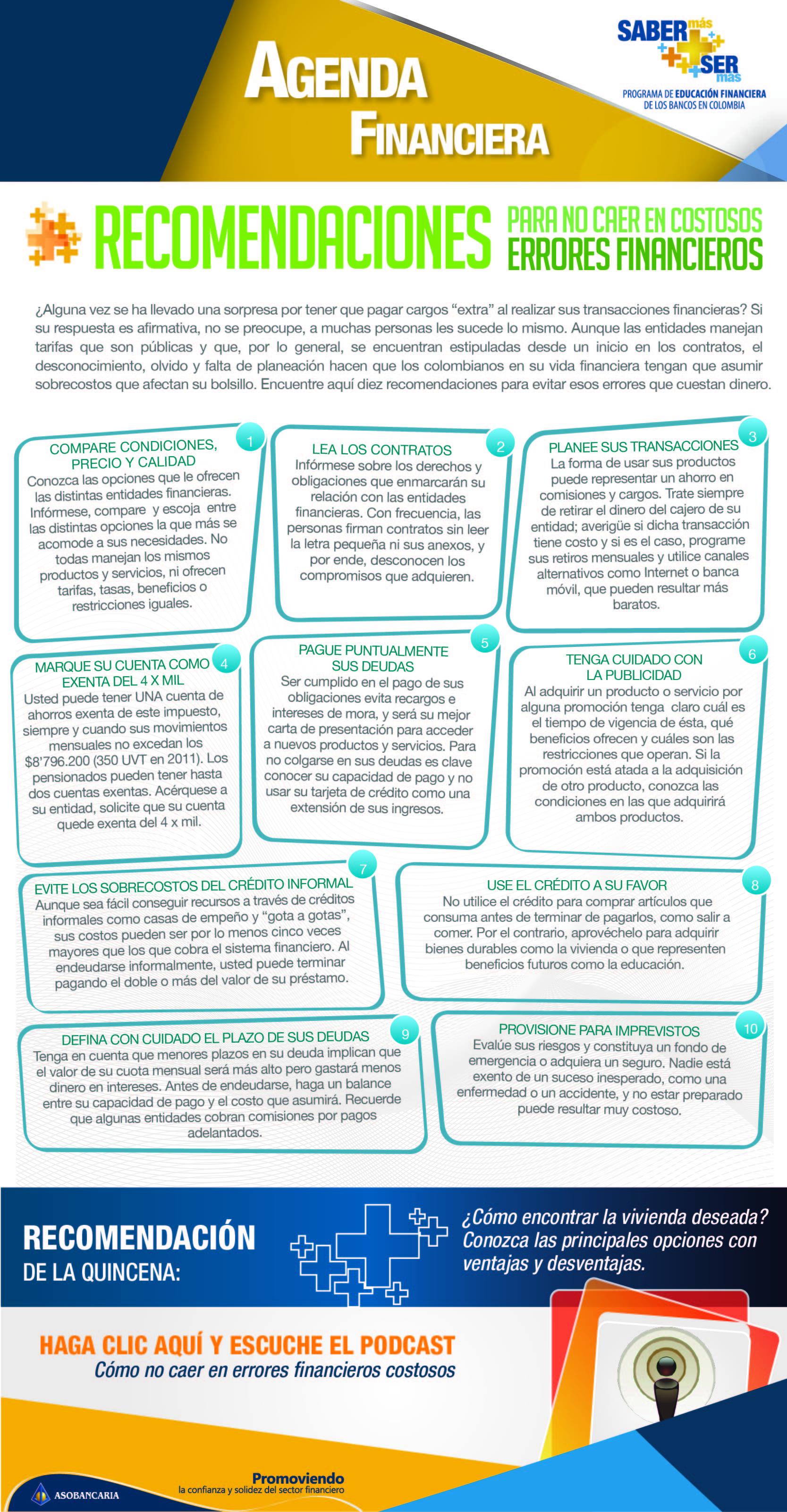 Boletin 5 -  Recomendaciones para no caer en costosos errores financieros