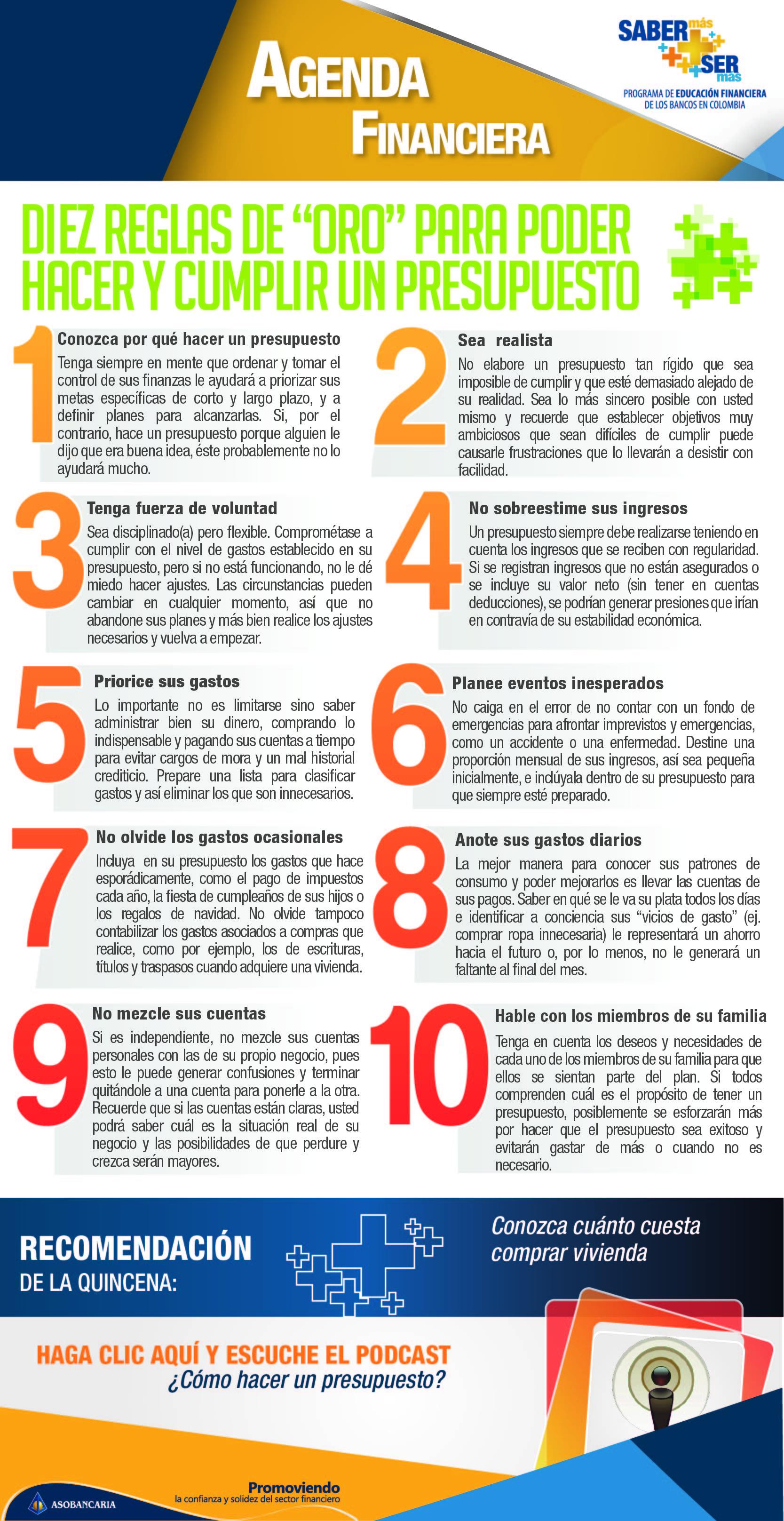 Boletin 7 - Diez reglas de oro para hacer y cumplir un presupuesto