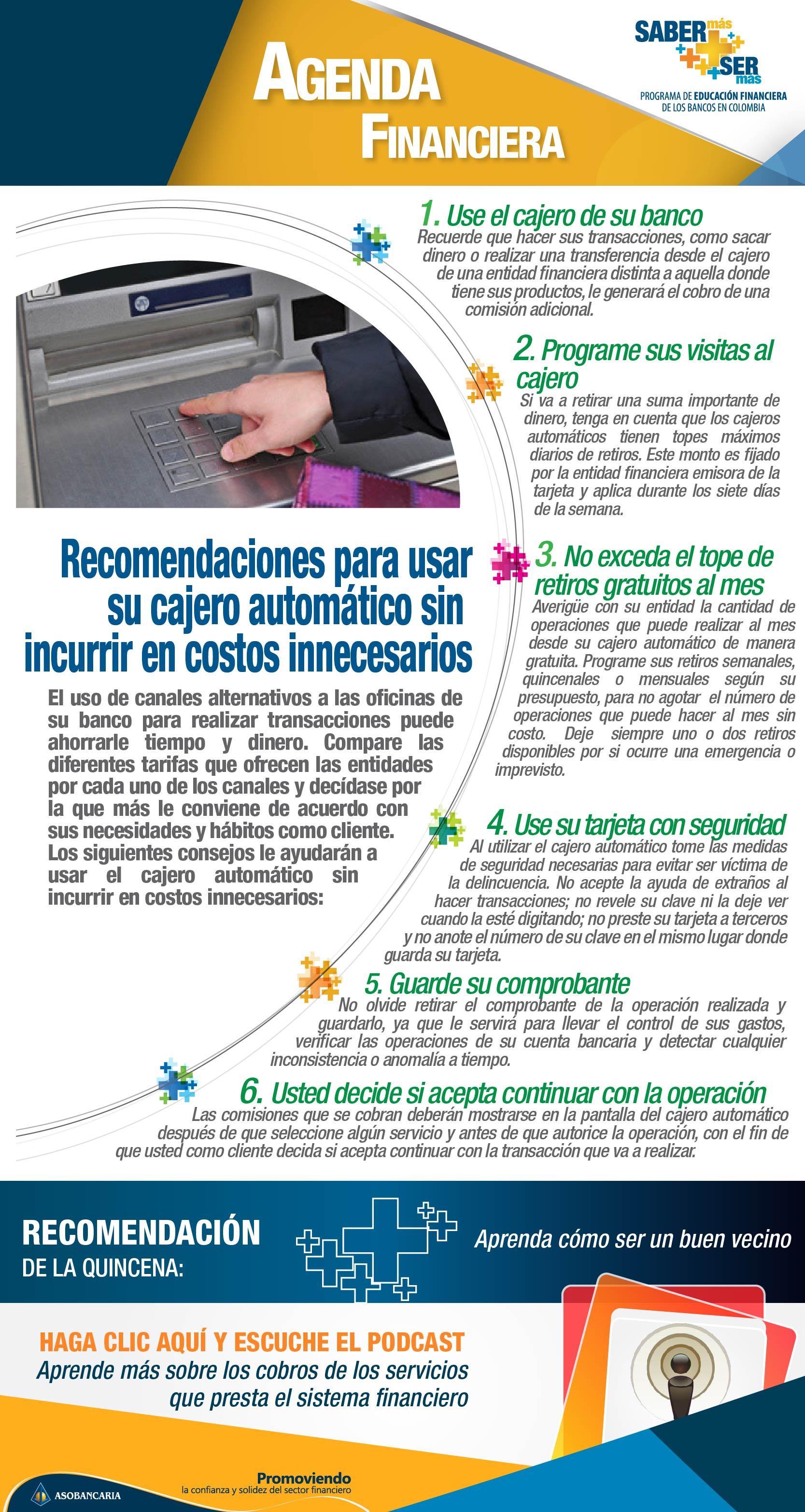 Boletin 9 - Recomendaciones para usar el cajero automatico sin incurrir en costos innecesarios
