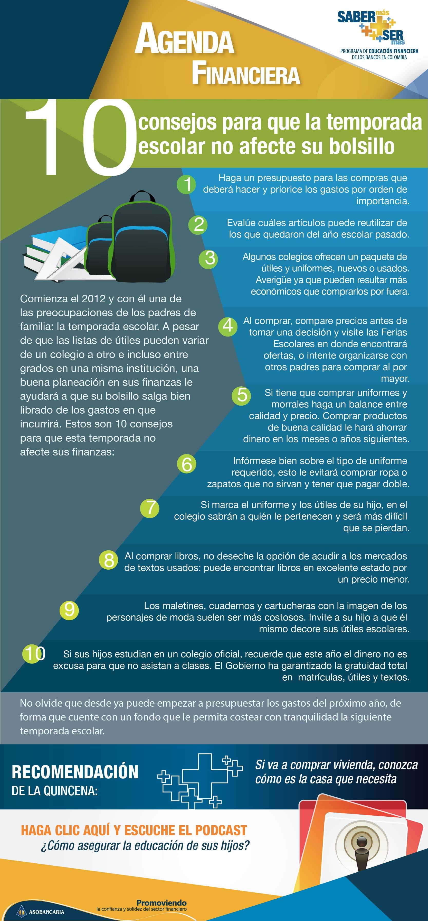 Boletin 19 -  Diez consejos para que la temporada escolar no afecte su bolsillo